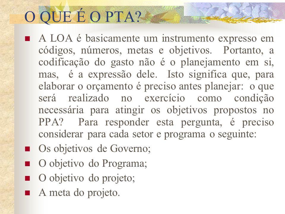 O QUE É O PTA. A LOA é basicamente um instrumento expresso em códigos, números, metas e objetivos.