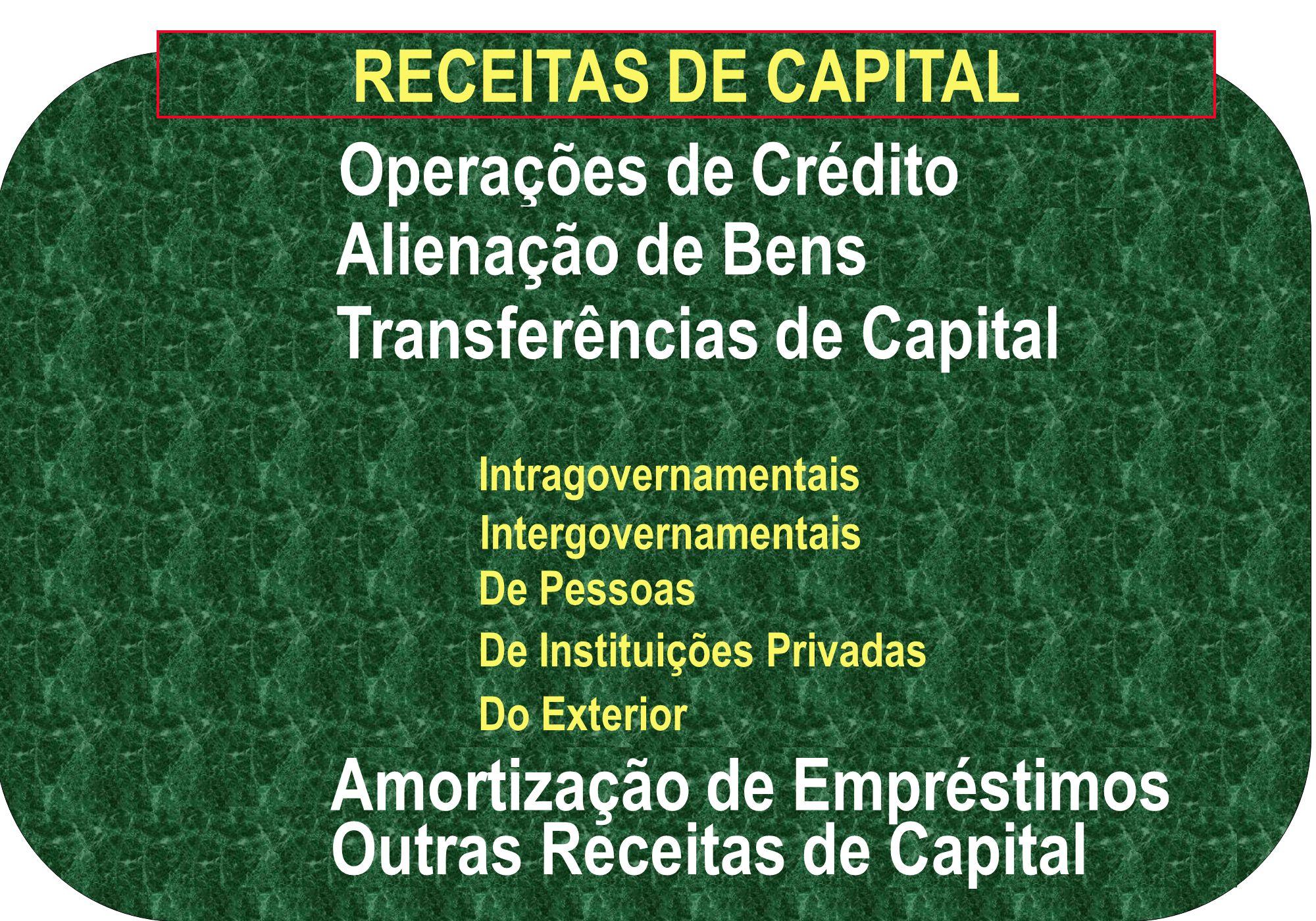 RECEITAS DE CAPITAL Operações de Crédito Alienação de Bens Transferências de Capital Outras Receitas de Capital Intragovernamentais Intergovernamentai