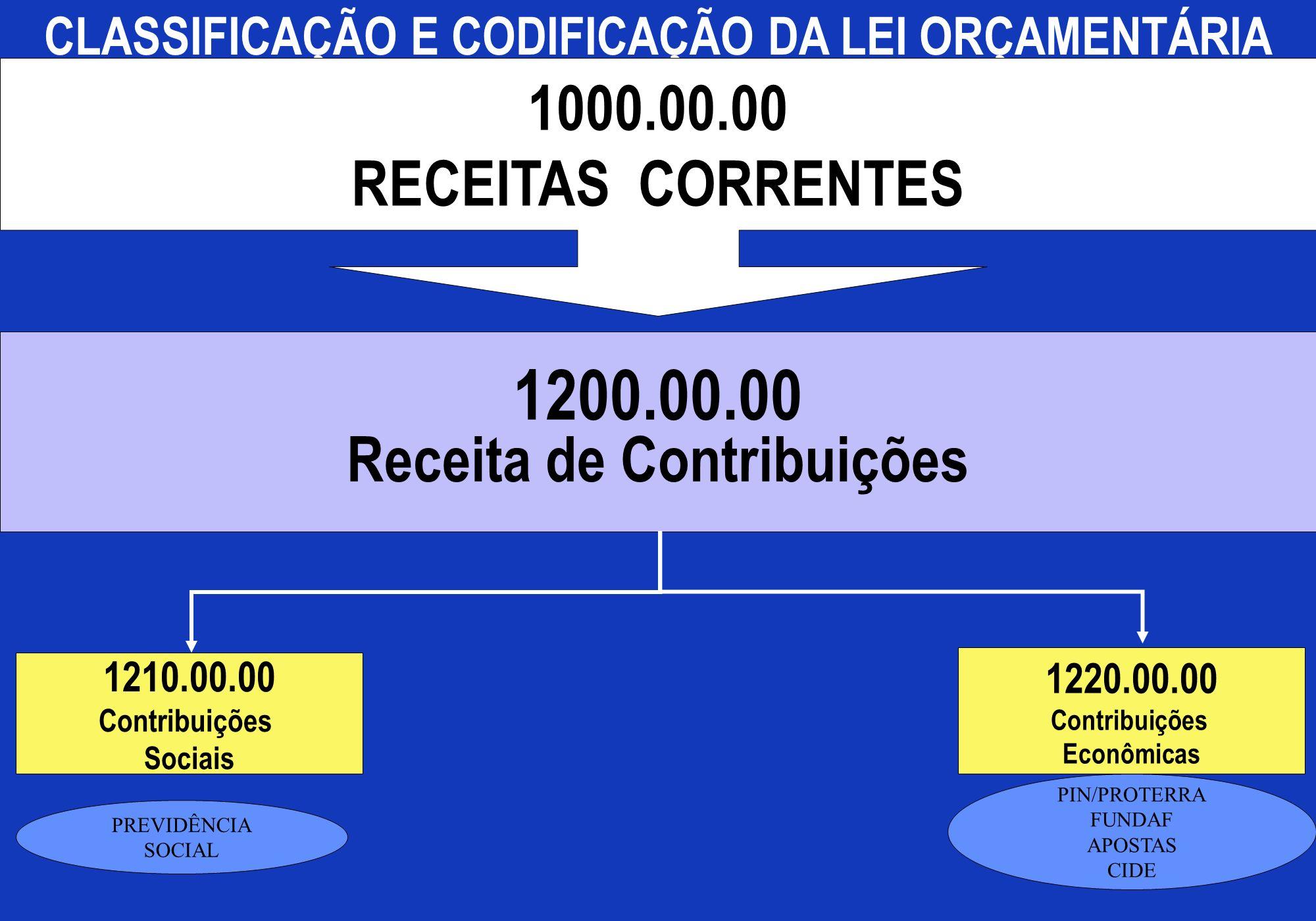 1200.00.00 Receita de Contribuições CLASSIFICAÇÃO E CODIFICAÇÃO DA LEI ORÇAMENTÁRIA 1000.00.00 RECEITAS CORRENTES 1210.00.00 Contribuições Sociais 122