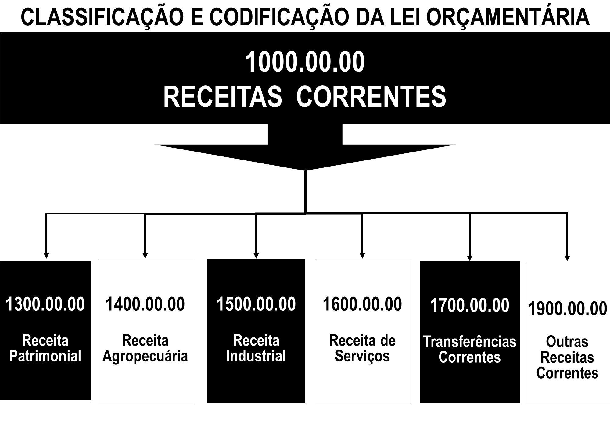 CLASSIFICAÇÃO E CODIFICAÇÃO DA LEI ORÇAMENTÁRIA 1000.00.00 RECEITAS CORRENTES 1300.00.00 Receita Patrimonial 1500.00.00 Receita Industrial 1400.00.00