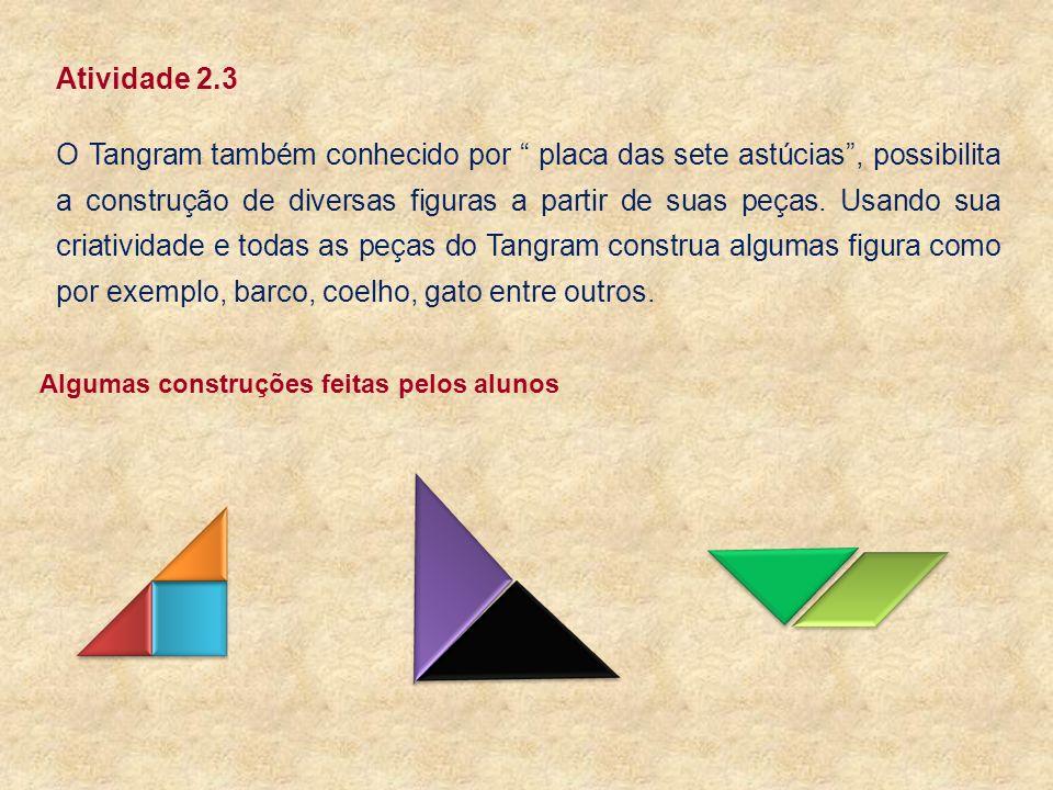 Atividade 2.3 O Tangram também conhecido por placa das sete astúcias, possibilita a construção de diversas figuras a partir de suas peças. Usando sua