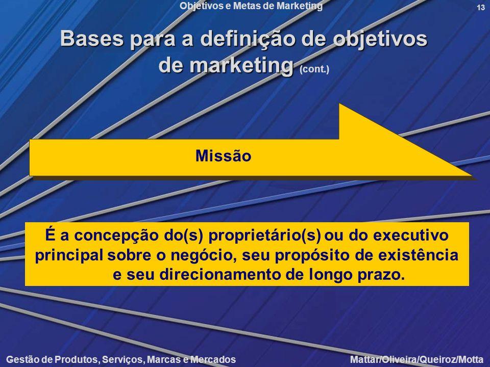 Objetivos e Metas de Marketing Gestão de Produtos, Serviços, Marcas e Mercados Mattar/Oliveira/Queiroz/Motta 13 É a concepção do(s) proprietário(s) ou