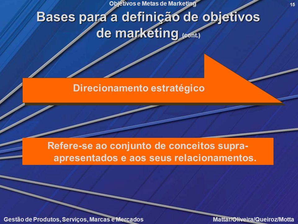 Objetivos e Metas de Marketing Gestão de Produtos, Serviços, Marcas e Mercados Mattar/Oliveira/Queiroz/Motta 15 Direcionamento estratégico Refere-se a