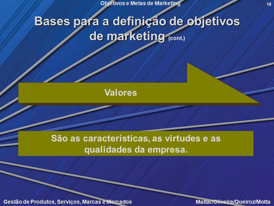 Objetivos e Metas de Marketing Gestão de Produtos, Serviços, Marcas e Mercados Mattar/Oliveira/Queiroz/Motta 18 Valores São as características, as vir