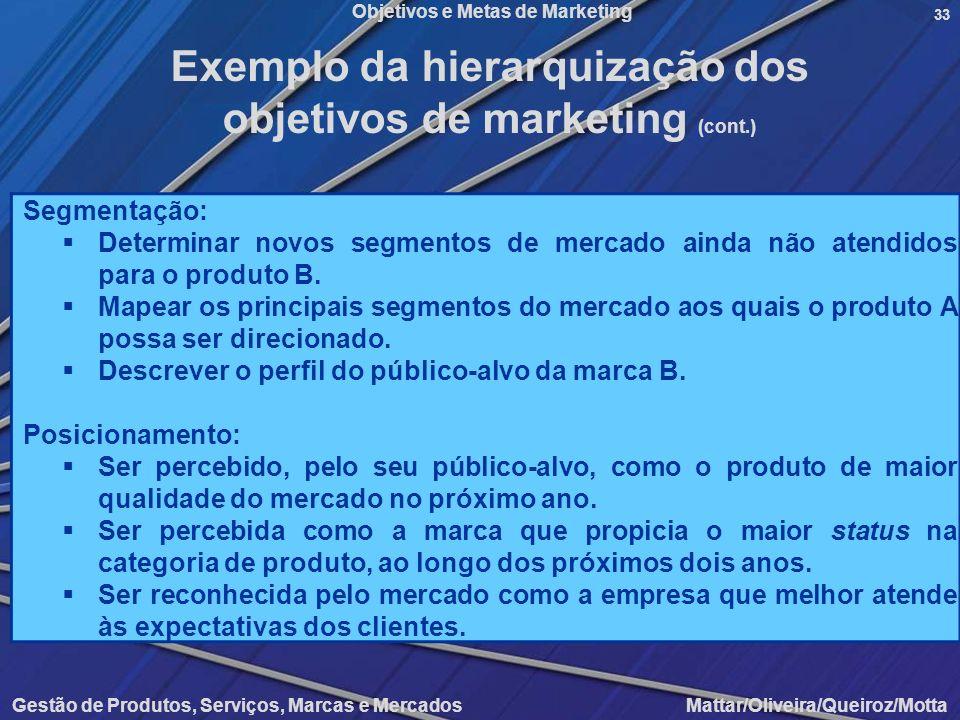 Objetivos e Metas de Marketing Gestão de Produtos, Serviços, Marcas e Mercados Mattar/Oliveira/Queiroz/Motta 33 Segmentação: Determinar novos segmento