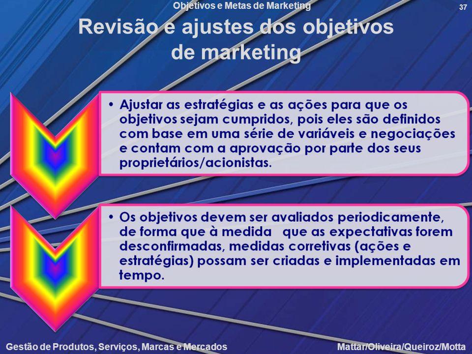 Objetivos e Metas de Marketing Gestão de Produtos, Serviços, Marcas e Mercados Mattar/Oliveira/Queiroz/Motta 37 Revisão e ajustes dos objetivos de mar