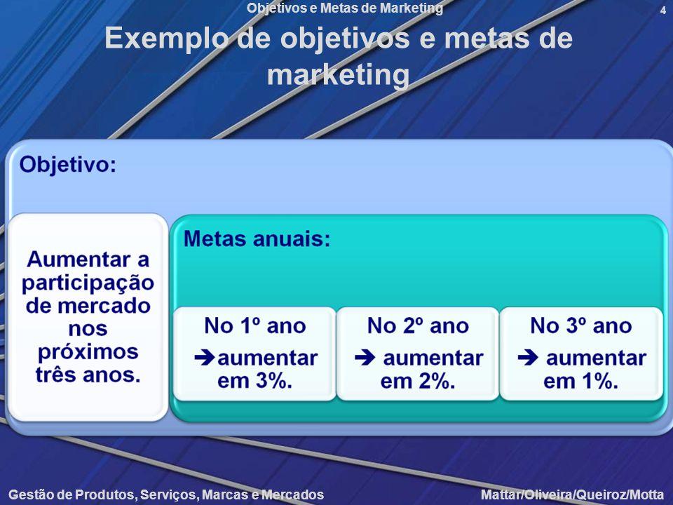 Objetivos e Metas de Marketing Gestão de Produtos, Serviços, Marcas e Mercados Mattar/Oliveira/Queiroz/Motta 4 Exemplo de objetivos e metas de marketi