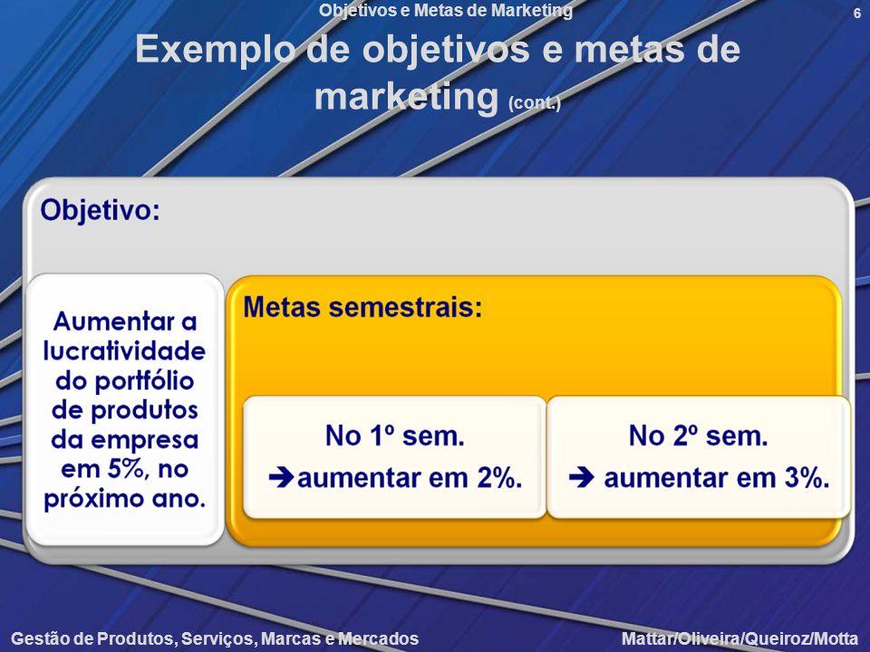 Objetivos e Metas de Marketing Gestão de Produtos, Serviços, Marcas e Mercados Mattar/Oliveira/Queiroz/Motta 6 Exemplo de objetivos e metas de marketi