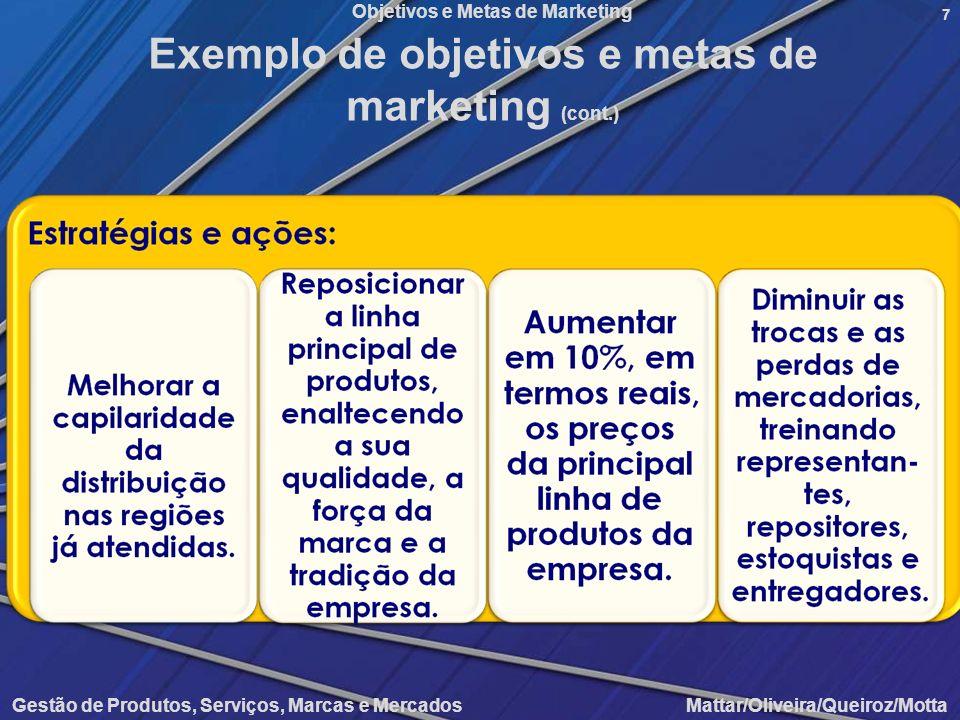 Objetivos e Metas de Marketing Gestão de Produtos, Serviços, Marcas e Mercados Mattar/Oliveira/Queiroz/Motta 7 Exemplo de objetivos e metas de marketi