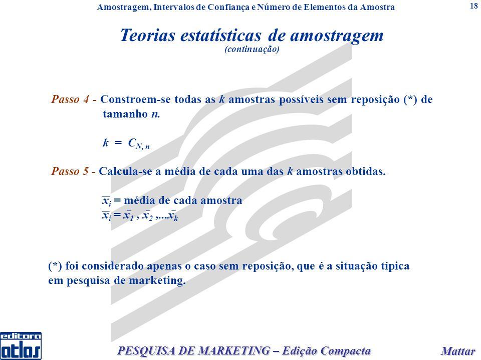 Mattar Mattar PESQUISA DE MARKETING – Edição Compacta 18 2 = X 2 / n/ n = / n (populações infinitas) X 2 = X 2 ou(N - n) / ou x = / (N - n) / (N - 1) n (populações finitas) / n e ou Passo 4 - Constroem-se todas as k amostras possíveis sem reposição (*) de tamanho n.