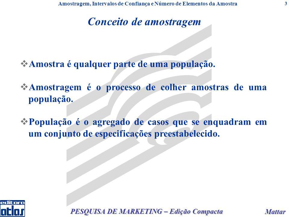 Mattar Mattar PESQUISA DE MARKETING – Edição Compacta 3 Conceito de amostragem Amostra é qualquer parte de uma população.