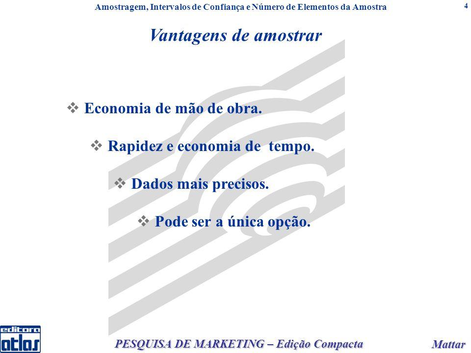 Mattar Mattar PESQUISA DE MARKETING – Edição Compacta 4 Vantagens de amostrar Economia de mão de obra.