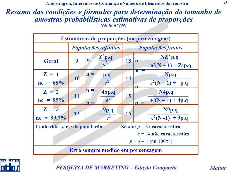 Mattar Mattar PESQUISA DE MARKETING – Edição Compacta 48 Resumo das condições e fórmulas para determinação do tamanho de amostras probabilísticas estimativas de proporções (continuação) Estimativas de proporções (ou porcentagens) Populações infinitasPopulações finitas Geral9 Z 2 p.q e 2 13 NZ 2 p.q n 2 (N – 1) + Z 2 p.q Z = 1 nc = 68% 10 p.q e 2 14 Np.q e 2 (N – 1) + p.q Z = 2 nc = 95% 11 4σp.q e 2 15 N4p.q e 2 (N – 1) + 4p.q Z = 3 nc = 99,7% 12 9p.q e 2 16 N9p.q e 2 (N -1) + 9p.q Conhecidos p e q da população Sendo: p = % característica q = % não característica p + q = 1 (ou 100%) Erro sempre medido em porcentagem n = Amostragem, Intervalos de Confiança e Número de Elementos da Amostra
