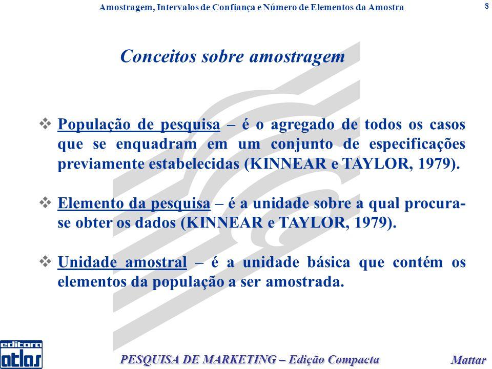 Mattar Mattar PESQUISA DE MARKETING – Edição Compacta 8 Conceitos sobre amostragem População de pesquisa – é o agregado de todos os casos que se enquadram em um conjunto de especificações previamente estabelecidas (KINNEAR e TAYLOR, 1979).