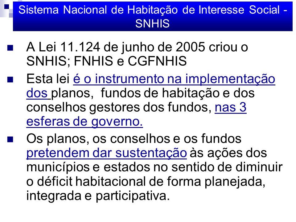Sistema Nacional de Habitação de Interesse Social - SNHIS A Lei 11.124 de junho de 2005 criou o SNHIS; FNHIS e CGFNHIS Esta lei é o instrumento na implementação dos planos, fundos de habitação e dos conselhos gestores dos fundos, nas 3 esferas de governo.