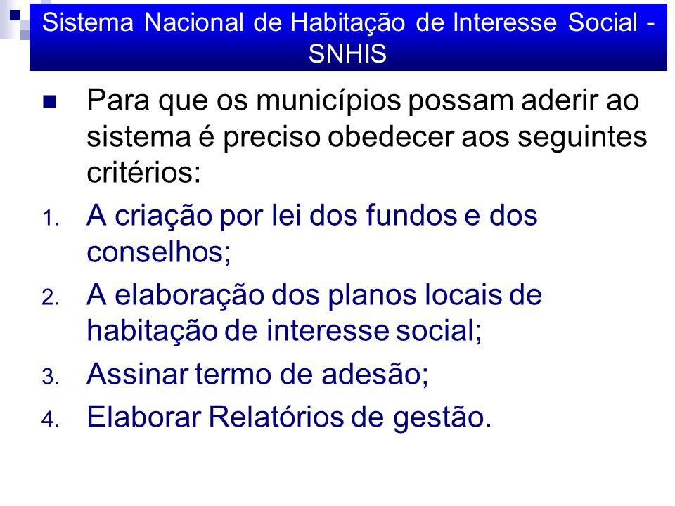Sistema Nacional de Habitação de Interesse Social - SNHIS Para que os municípios possam aderir ao sistema é preciso obedecer aos seguintes critérios: 1.
