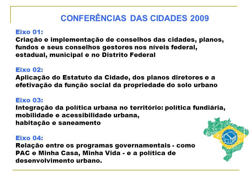 Eixo 01: Criação e implementação de conselhos das cidades, planos, fundos e seus conselhos gestores nos níveis federal, estadual, municipal e no Distr