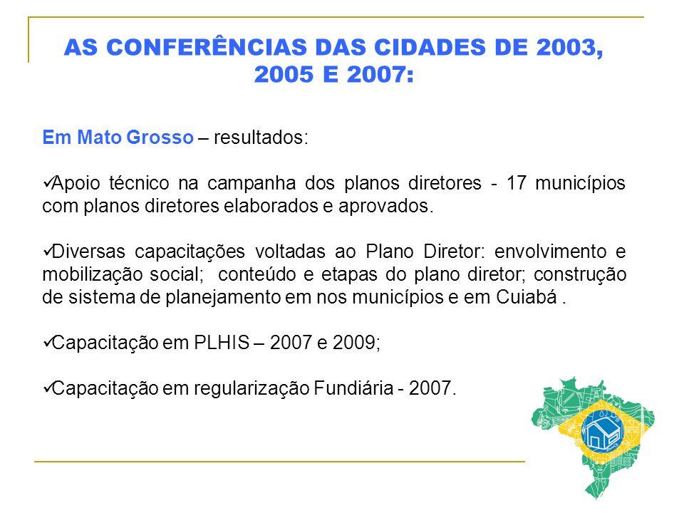 AS CONFERÊNCIAS DAS CIDADES DE 2003, 2005 E 2007: Em Mato Grosso – resultados: Apoio técnico na campanha dos planos diretores - 17 municípios com planos diretores elaborados e aprovados.
