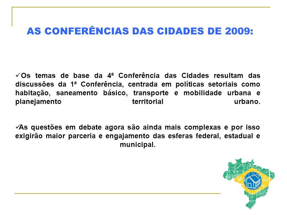 AS CONFERÊNCIAS DAS CIDADES DE 2009: Os temas de base da 4ª Conferência das Cidades resultam das discussões da 1ª Conferência, centrada em políticas s