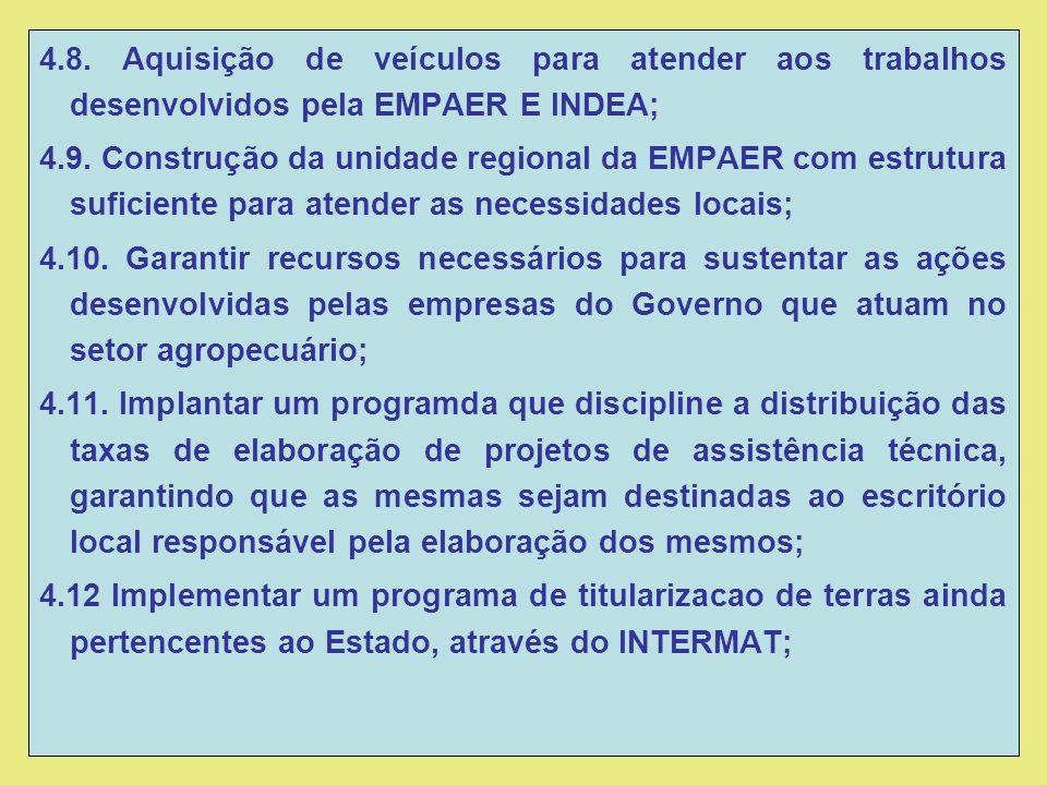 4.8. Aquisição de veículos para atender aos trabalhos desenvolvidos pela EMPAER E INDEA; 4.9.
