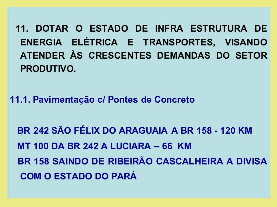 11. DOTAR O ESTADO DE INFRA ESTRUTURA DE ENERGIA ELÉTRICA E TRANSPORTES, VISANDO ATENDER ÀS CRESCENTES DEMANDAS DO SETOR PRODUTIVO. 11.1. Pavimentação