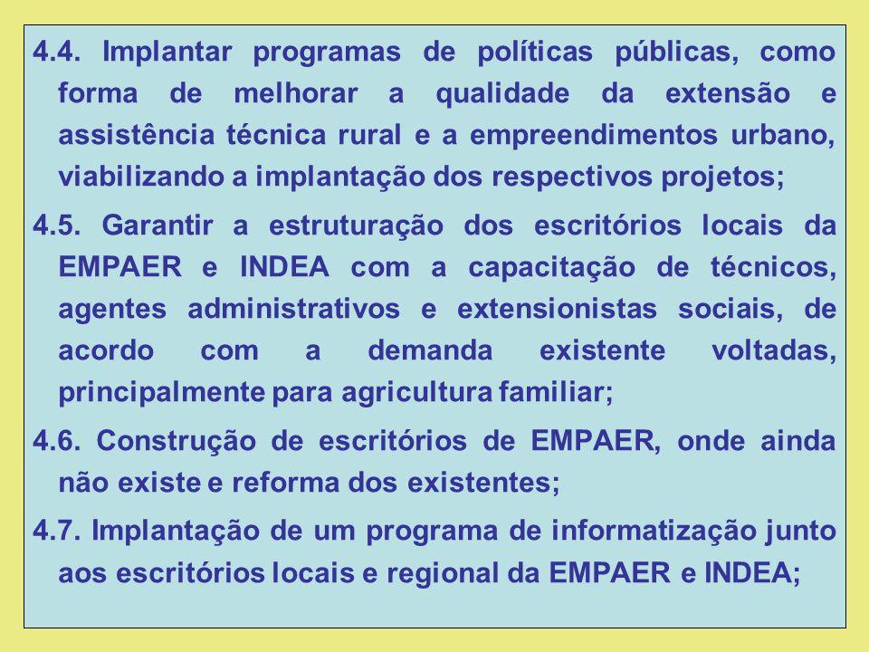 4.4. Implantar programas de políticas públicas, como forma de melhorar a qualidade da extensão e assistência técnica rural e a empreendimentos urbano,