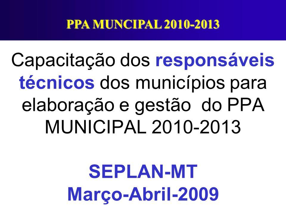 Capacitação dos responsáveis técnicos dos municípios para elaboração e gestão do PPA MUNICIPAL 2010-2013 SEPLAN-MT Março-Abril-2009 PPA MUNCIPAL 2010-