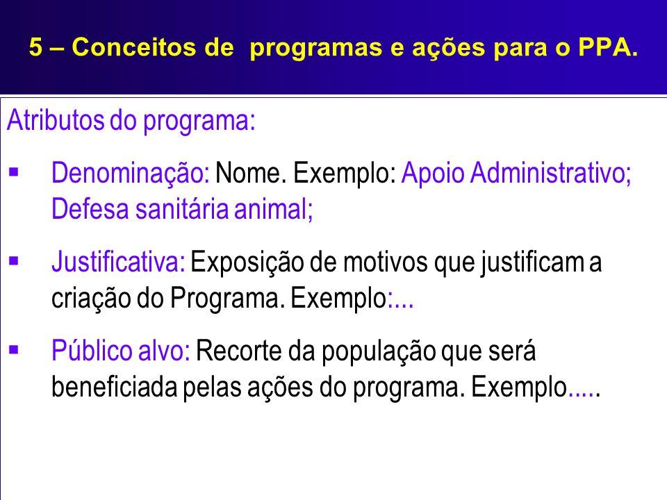 5 – Conceitos de programas e ações para o PPA. Atributos do programa: Denominação: Nome. Exemplo: Apoio Administrativo; Defesa sanitária animal; Justi