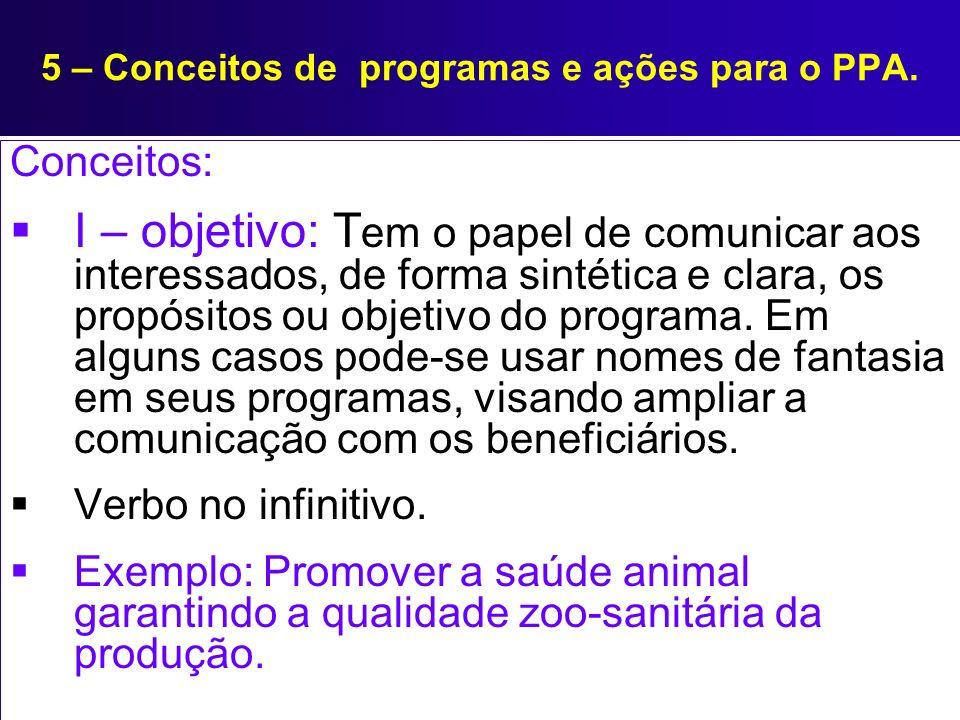 5 – Conceitos de programas e ações para o PPA. Conceitos: I – objetivo: T em o papel de comunicar aos interessados, de forma sintética e clara, os pro