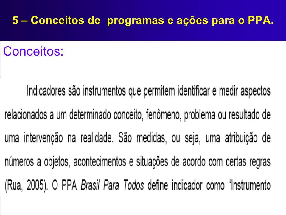 5 – Conceitos de programas e ações para o PPA. Conceitos: