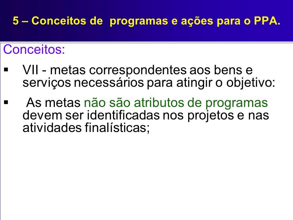 5 – Conceitos de programas e ações para o PPA. Conceitos: VII - metas correspondentes aos bens e serviços necessários para atingir o objetivo: As meta