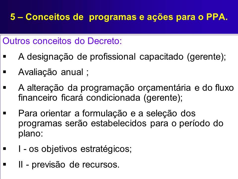 5 – Conceitos de programas e ações para o PPA. Outros conceitos do Decreto: A designação de profissional capacitado (gerente); Avaliação anual ; A alt