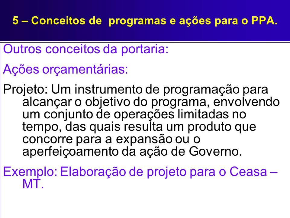 5 – Conceitos de programas e ações para o PPA. Outros conceitos da portaria: Ações orçamentárias: Projeto: Um instrumento de programação para alcançar