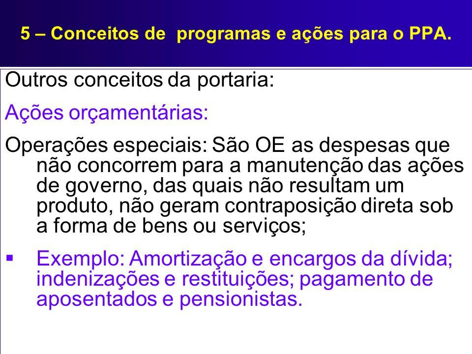 5 – Conceitos de programas e ações para o PPA. Outros conceitos da portaria: Ações orçamentárias: Operações especiais: São OE as despesas que não conc