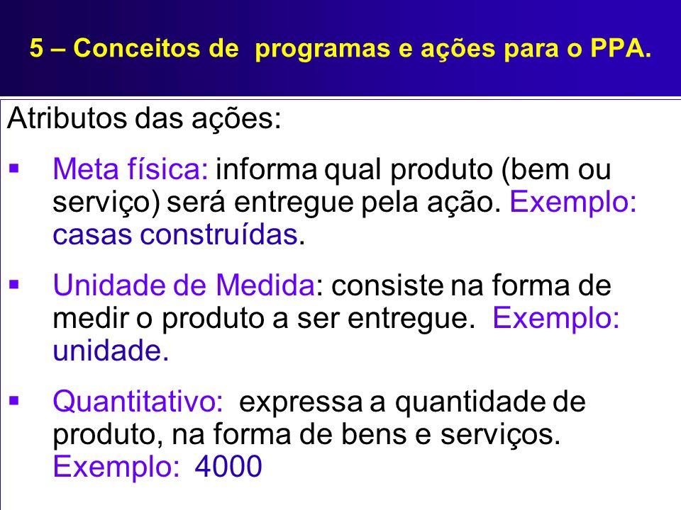 5 – Conceitos de programas e ações para o PPA. Atributos das ações: Meta física: informa qual produto (bem ou serviço) será entregue pela ação. Exempl