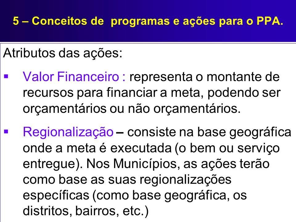 5 – Conceitos de programas e ações para o PPA. Atributos das ações: Valor Financeiro : representa o montante de recursos para financiar a meta, podend