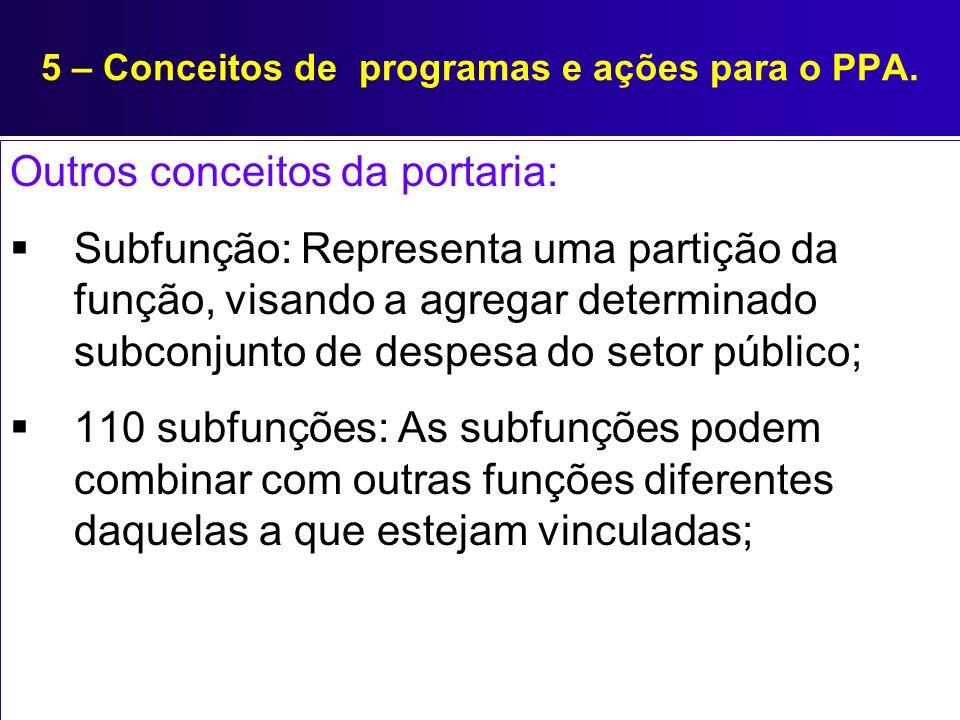 5 – Conceitos de programas e ações para o PPA. Outros conceitos da portaria: Subfunção: Representa uma partição da função, visando a agregar determina
