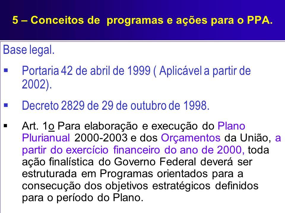 Base legal. Portaria 42 de abril de 1999 ( Aplicável a partir de 2002). Decreto 2829 de 29 de outubro de 1998. Art. 1o Para elaboração e execução do P