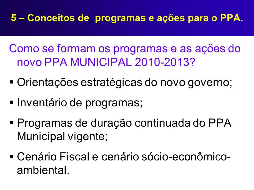 5 – Conceitos de programas e ações para o PPA. Como se formam os programas e as ações do novo PPA MUNICIPAL 2010-2013? Orientações estratégicas do nov