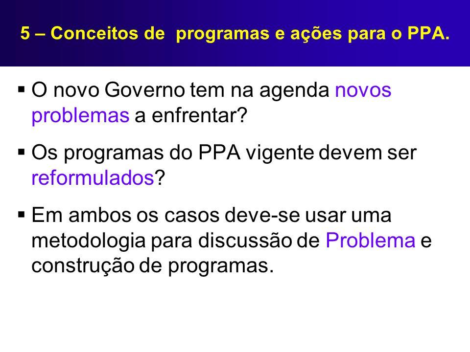5 – Conceitos de programas e ações para o PPA. O novo Governo tem na agenda novos problemas a enfrentar? Os programas do PPA vigente devem ser reformu