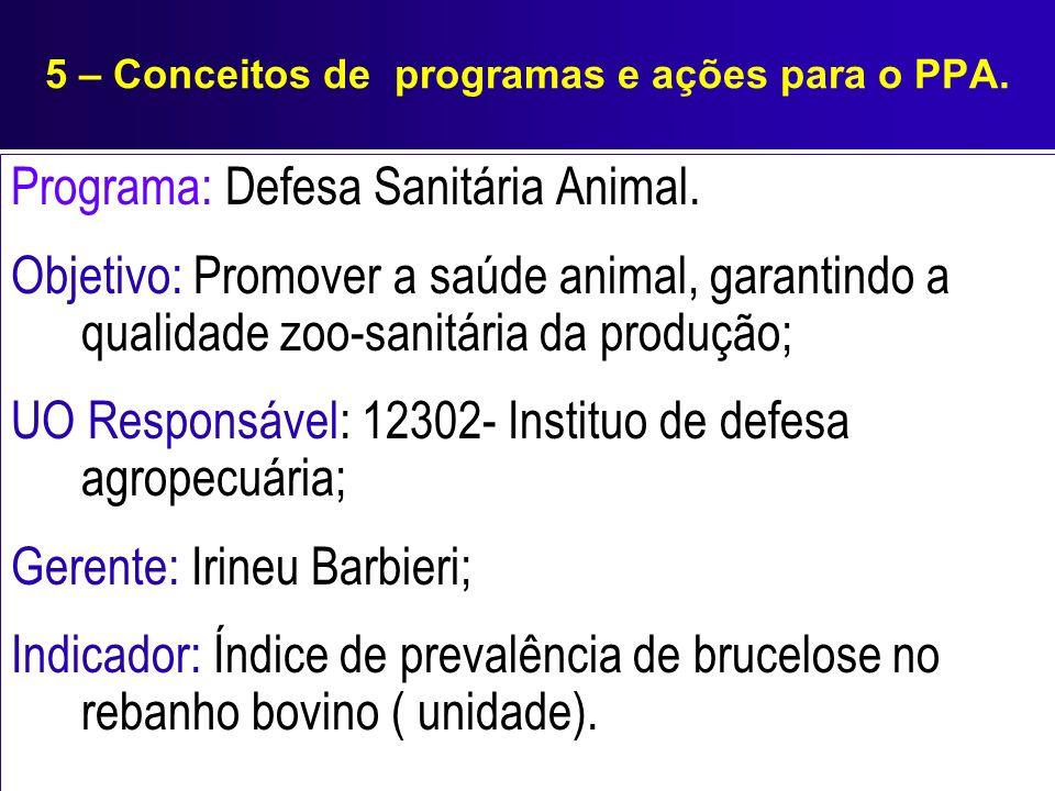5 – Conceitos de programas e ações para o PPA. Programa: Defesa Sanitária Animal. Objetivo: Promover a saúde animal, garantindo a qualidade zoo-sanitá