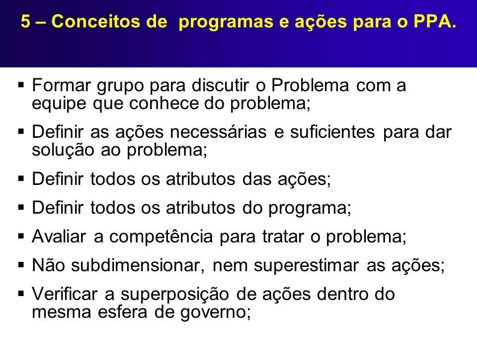 5 – Conceitos de programas e ações para o PPA. Formar grupo para discutir o Problema com a equipe que conhece do problema; Definir as ações necessária