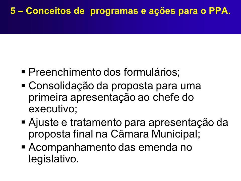 5 – Conceitos de programas e ações para o PPA. Preenchimento dos formulários; Consolidação da proposta para uma primeira apresentação ao chefe do exec