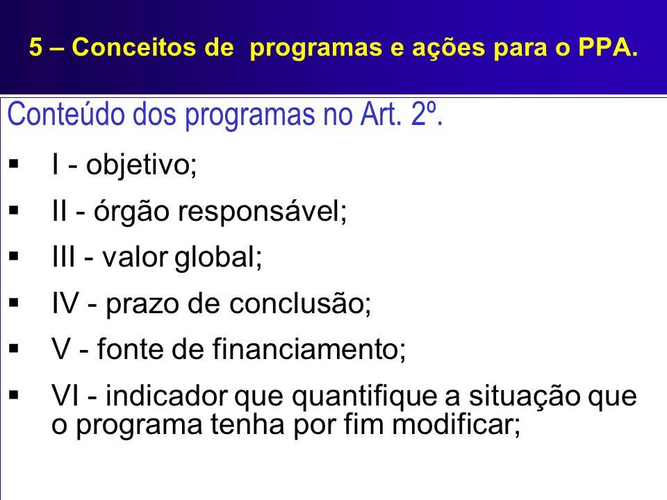 5 – Conceitos de programas e ações para o PPA. Conteúdo dos programas no Art. 2º. I - objetivo; II - órgão responsável; III - valor global; IV - prazo