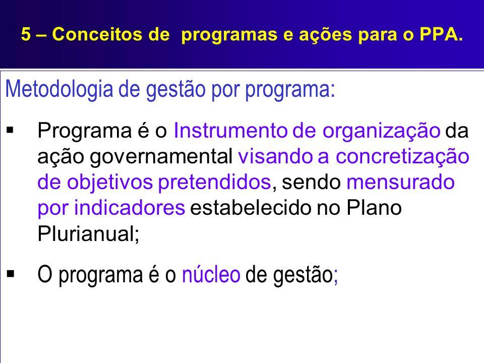 5 – Conceitos de programas e ações para o PPA. Metodologia de gestão por programa: Programa é o Instrumento de organização da ação governamental visan