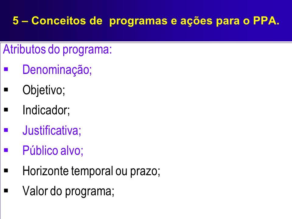 5 – Conceitos de programas e ações para o PPA. Atributos do programa: Denominação; Objetivo; Indicador; Justificativa; Público alvo; Horizonte tempora