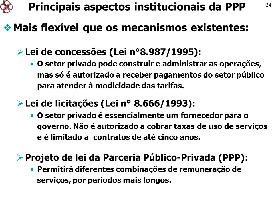 24 Mais flexível que os mecanismos existentes: Lei de concessões (Lei n°8.987/1995): O setor privado pode construir e administrar as operações, mas só