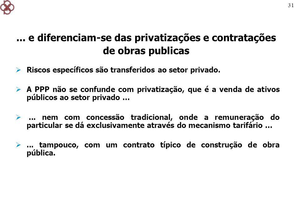 31 Riscos específicos são transferidos ao setor privado. A PPP não se confunde com privatização, que é a venda de ativos públicos ao setor privado....