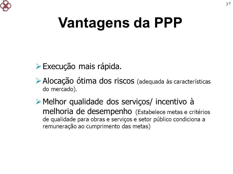 37 Vantagens da PPP Execução mais rápida. Alocação ótima dos riscos (adequada às características do mercado). Melhor qualidade dos serviços/ incentivo