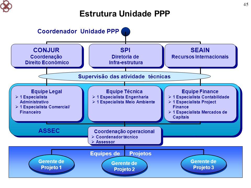 45 Estrutura Unidade PPP - - Equipes de Projetos CONJUR Coordenação Direito Econômico CONJUR Coordenação Direito Econômico Gerente de Projeto 1 Gerent